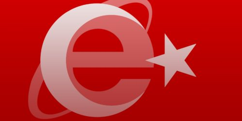 abstract art of the turkish flag with the internet explorer logo